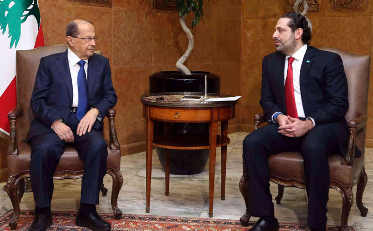 epa05681582 A handout picture released by Dalati Nohra shows Lebanese President Michel Aoun (L) meets with Prime minister-designate Saad Hariri (R), at the presidential palace in Baabda, east Beirut, Lebanon, 18 December 2016. A new 30 Ministers Cabinet led by Prime Minister Saad Hariri is yet to be formed.  EPA/DALATI NOHRA / HANDOUT  HANDOUT EDITORIAL USE ONLY/NO SALES